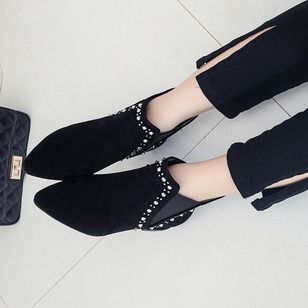 Rivet Ankle Boots Nubuck Chunky Heel Shoes