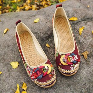Women's Flower Flats Canvas Flat Heel Flats (1364696)