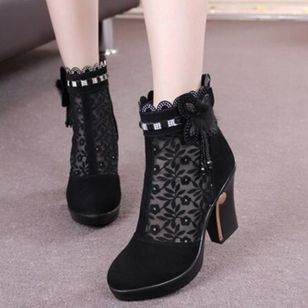 Stitching Lace Ankle Boots Chunky Heel Shoes