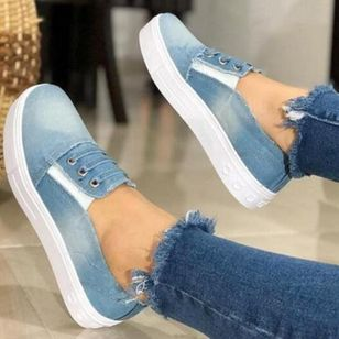 Women's Lace-up Round Toe Denim Flat Heel Sneakers (1528931)