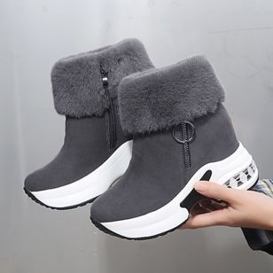 Women's Zipper Ankle Boots Round Toe Cloth Wedge Heel Boots (128228224)