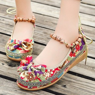 Rhinestone Bowknot Beading Ankle Strap Closed Toe PU Flat Heel Shoes