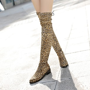 Lace-up Knee High Boots Leatherette Nubuck Low Heel Shoes