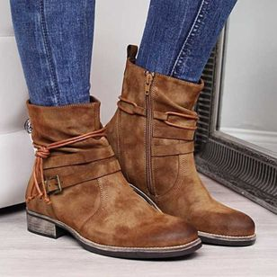 Women's Buckle Zipper Mid-Calf Boots Low Heel Boots (128229758)
