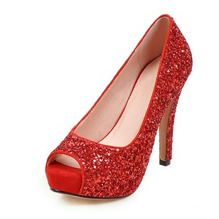 Women's Pumps Sandals Platform Peep Toe Stiletto Heel Sparkling Glitter Shoes