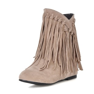 Tassel Ankle Boots Suede Low Heel Shoes
