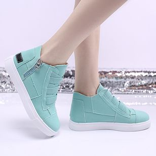 Women's Zipper Closed Toe Cloth Flat Heel Sneakers (4048773)