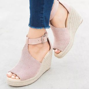 Women's Buckle Peep Toe Linen Wedge Heel Sandals (2200145)