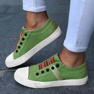 Women's Low Top Cloth Flat Heel Sneakers (2201116)