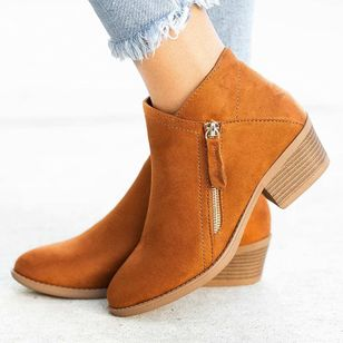 Women's Zipper Ankle Boots Nubuck Low Heel Boots (5609818)