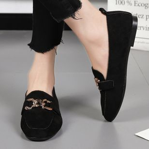Women's Round Toe Nubuck Flat Heel Pumps (147083514)
