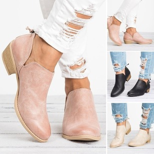Closed Toe PU Chunky Heel Shoes