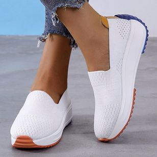 Women's Hollow-out Closed Toe Fabric Wedge Heel Sneakers (4048833)