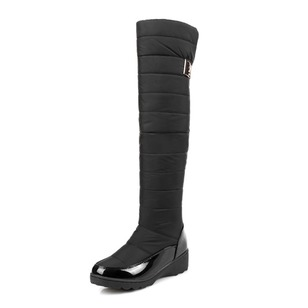 Others Knee High Boots Cotton Leatherette Cloth Wedge Heel Shoes