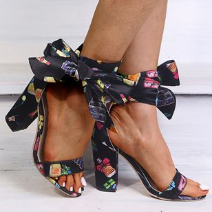 Women's Lace-up Heels Cloth Chunky Heel Sandals (5609738)
