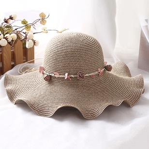 Elegant Straw Flowers Solid Hats