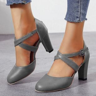 Women's Buckle Closed Toe Chunky Heel Pumps (101399027)