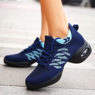Women's Mesh Lace-up Round Toe Fabric Low Heel Sneakers (100002054)