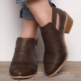 Buckle Closed Toe Low Heel Shoes