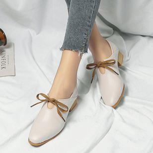 Lace-up Pointed Toe Low Heel Shoes