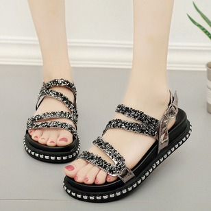 Rhinestone Buckle Flats PU Flat Heel Shoes