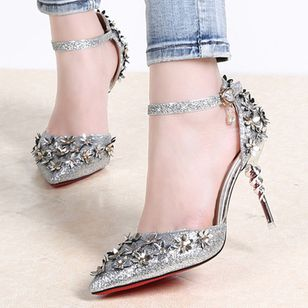 Buckle Flower Ankle Strap Pointed Toe Stiletto Heel Shoes