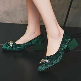 Crystal Closed Toe Low Heel Shoes