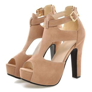 Buckle Hollow-out Peep Toe Chunky Heel Shoes