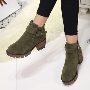 Buckle Ankle Boots Chunky Heel Shoes