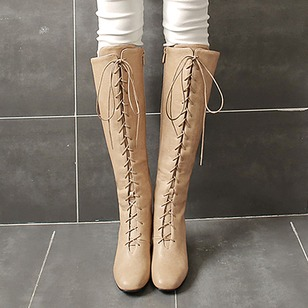 Zipper Lace-up Knee High Boots Leatherette Chunky Heel Shoes
