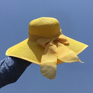 Straw Bow Solid Hats
