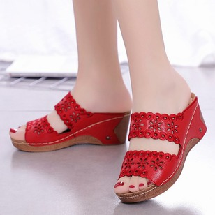Hollow-out Flower Slippers PU Wedge Heel Shoes