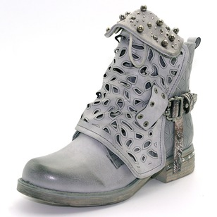 Beading Buckle Hollow-out Mid-Calf Boots PU Chunky Heel Shoes