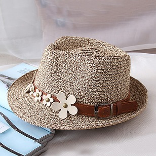 Vintage Straw Rivets Flowers Solid Hats