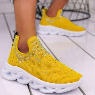 Women's Rhinestone Cloth Sneakers (100772240)
