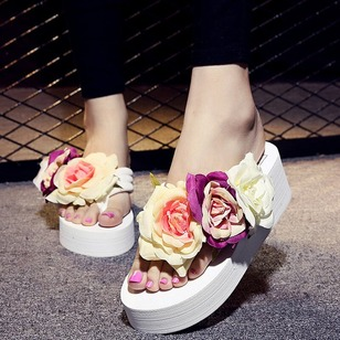 Flower Slippers PU Flat Heel Shoes