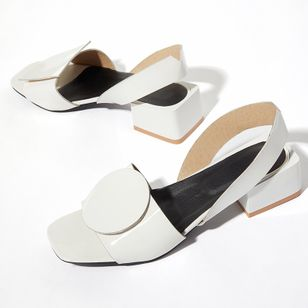 Women's Others Square Toe Patent Leather Low Heel Sandals (1316065)