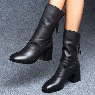Women's Zipper Mid-Calf Boots Leatherette Chunky Heel Boots (111608366)