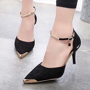 Women's Pumps Closed Toe Stiletto Heel Suede Shoes