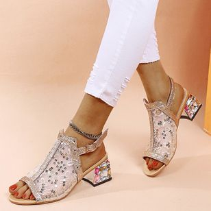 Women's Beading Buckle Round Toe Heels Cotton Chunky Heel Sandals (147056423)