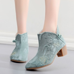 Applique Button Ankle Boots Cloth Chunky Heel Shoes
