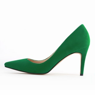 Closed Toe Heels Suede Stiletto Heel Shoes