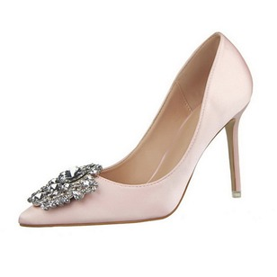 Crystal Pumps Closed Toe Silk Like Satin Stiletto Heel Shoes