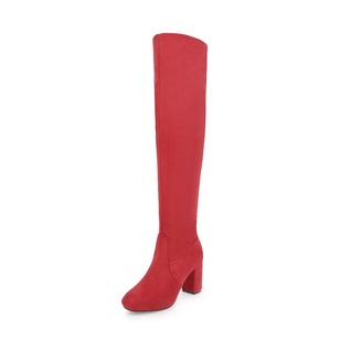 Elastic Band Knee High Boots Leatherette Chunky Heel Shoes