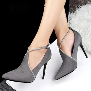 Closed Toe Leatherette Stiletto Heel Shoes