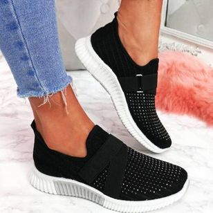 Women's Rhinestone Closed Toe Cloth Wedge Heel Sneakers (5609908)