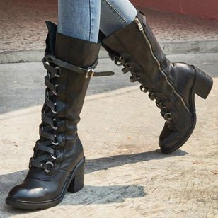 Women's Buckle Lace-up Mid-Calf Boots Round Toe Heels Chunky Heel Boots