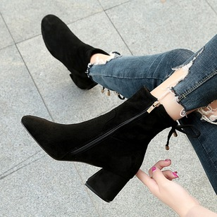 Lace-up Mid-Calf Boots Nubuck Chunky Heel Shoes