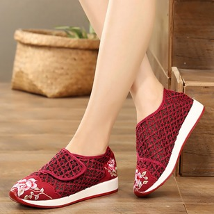 Embroidery Closed Toe Fabric Wedge Heel Shoes