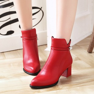 Rhinestone Zipper Heels Ankle Boots Leatherette Chunky Heel Shoes